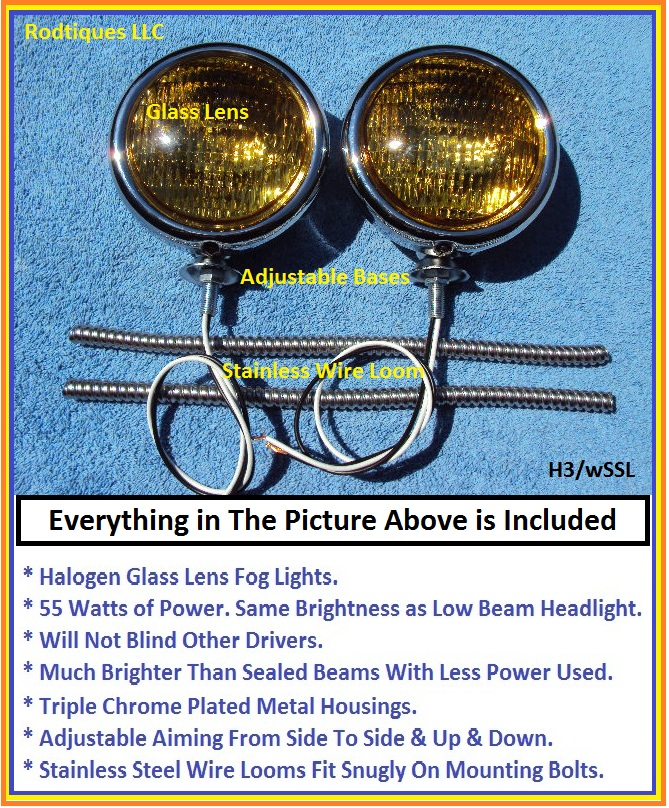 12 Volt Fog Lights Ss Wire Looms H3 Glass Lenses
