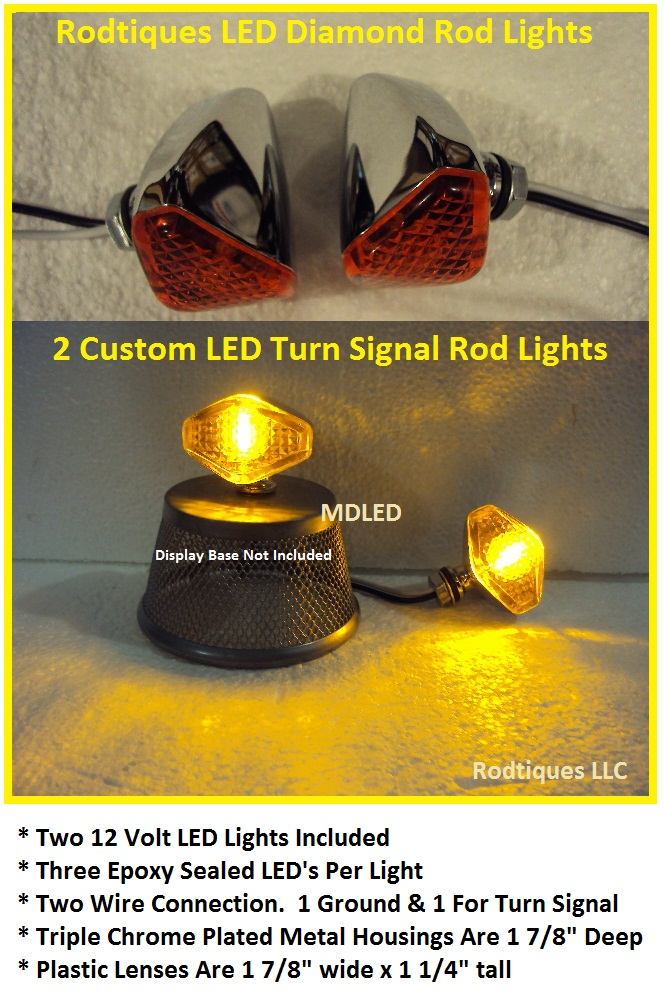 Hot Rod Turn Signals : Hot rod led amber mini quot d turn signal lights street