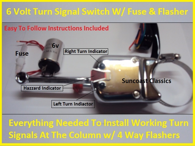 6 volt turn signal switch w flasher fuse instructions. Black Bedroom Furniture Sets. Home Design Ideas